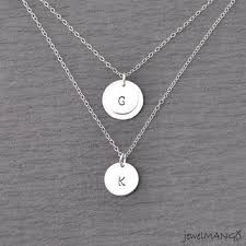 white gold initial disc necklace shop layer initial necklace on wanelo