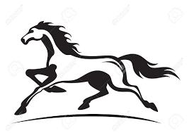 mustang horse silhouette stallion clipart vector pencil and in color stallion clipart vector