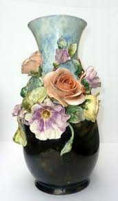 The Flower Vase Rare Barbotine Style Mollica Italian Vase With Applied Florals