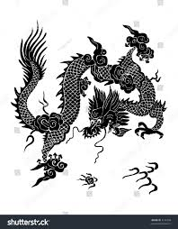 fantastic chinese dragon blackandwhite illustration raster stock