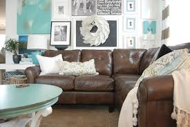 Decorating Ideas For Living Rooms With Brown Leather Furniture Blue Walls In Pikes Peak Gray By Benjamin Moore With Brown Couch