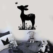 fawn deer wall decal kids bedroom vinyl nursery wall stickers for fawn deer wall decal kids bedroom vinyl nursery wall stickers for baby room animal decals removable home decor wallpaper zb048 in wall stickers from home