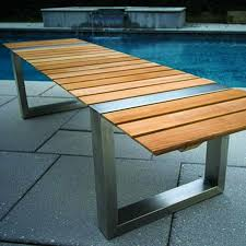 kingsley bate boca stainless steel and teak backless bench