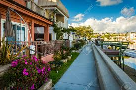 houses along the grand canal on balboa island in newport beach