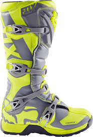 mx racing boots fox racing youth hi vis yellow grey comp 5 dirt bike boots 2017