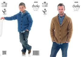 king cole 4088 knitting pattern cardigan and hoodie in king cole