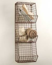 new country farmhouse general store small wire wall bin basket