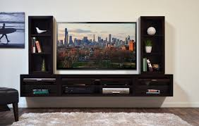 tv shelf design wall mounted black wooden media shelves with twin display open