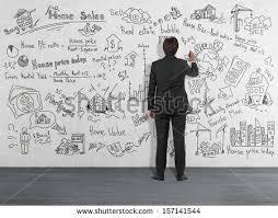 Wall Writing Man Dark Business Suit Drawing Algebraic Stock Photo 414380566