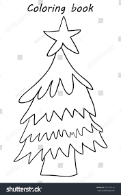 Coloring Book Christmas Pine Tree Decor Stock Vector