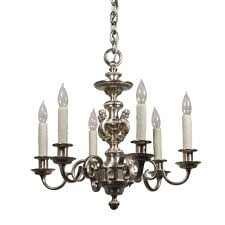 Colonial Chandelier Incredible Antique Figural Silver Plated Chandelier By E F