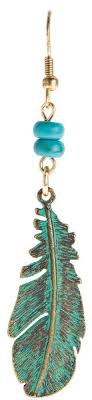 feather earring patina turquoise feather earring wholesale e623p
