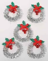 miniature silver tinsel wreaths miniatures