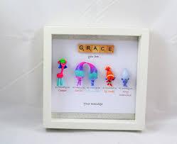 personalised scrabble troll minifigure frame satin chenille best