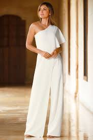 white jumpsuit wedding trending fashion s one shoulder white jumpsuit by boston