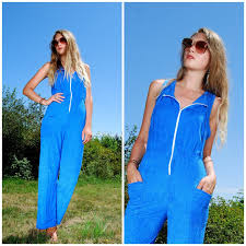 terry cloth jumpsuit 70s blue terry cloth jumpsuit sporty disco s jumpers one