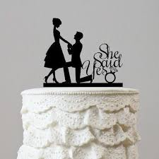 cake toppers engagement wedding cake topper proposing marriage