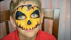 easy pumpkin skull face paint makeup youtube