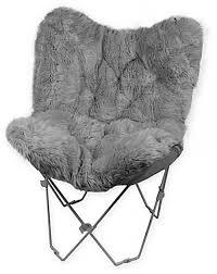 Black Butterfly Chair Faux Fur Butterfly Chair Gray Durable Folding Seat College Dorm