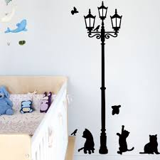 aliexpress com buy cute black cat street light wall stickers
