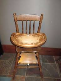 Antique Wood High Chair Vtg Wooden Jenny Lind High Chair All Wood Tray Safety Straps