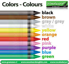 list of color colors colours woodward english