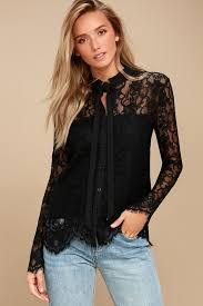 black top black lace button up top long sleeve top