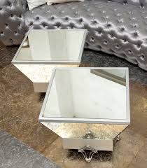 pair of square modern mirrored coffee table with silver metal base