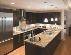 U Shaped Kitchen Design Layout L Shaped Dark Brown Wooden Kitchen Cabinet And Rectangle Island