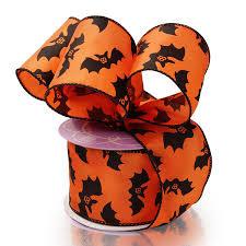 orange bats halloween satin wired ribbon