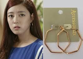 earrings accessorize trot episode 9 park soo in s hexagon hoop earrings