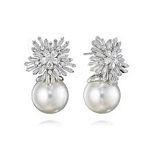 earring drop pearl drop earrings starburst pearl drop earrings fallon jewelry
