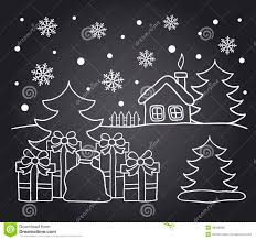 chalkboard drawing of winter house and christmas gifts stock