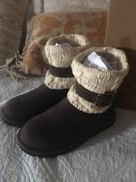 womens knit boots size 11 ugg cassidee chocolate leather and knit cuff s boots size 11