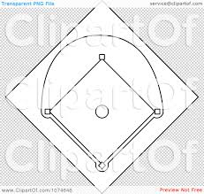 clipart outlined baseball diamond field royalty free vector