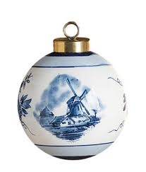 delft blue and white ceramic ornament 2 75 diameter