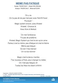 Magic System Meme Pas Fatigue - paroles et musique de meme pas fatigue khaled lalo pro