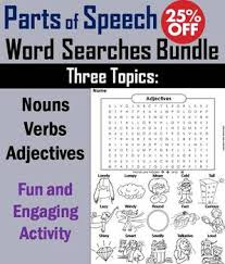 parts of speech worksheet verbs nouns and adjectives word search