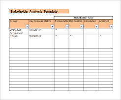 Data Mapping Excel Template Stakeholder Analysis Sle 8 Documents In Word Excel Pdf
