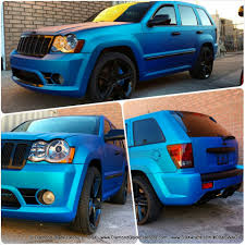 black and teal jeep jeep grand cherokee srt8 wrapped in matte blue aluminum by dbx