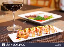 modern japanese cuisine delicious sushi at a modern japanese restaurant stock photo