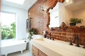 Double Trough Sink Bathroom Trough Sink Bathroom Contemporary With Beige Wall Concrete Ceiling