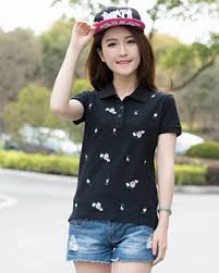 plus size flower short sleeve polo shirts for girls cotton t shirt