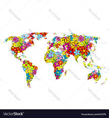 world map vector free floral world map royalty free vector image vectorstock
