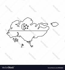 Map Of Singapore Map Of Singapore With Flag Icon Outline Style Vector Image