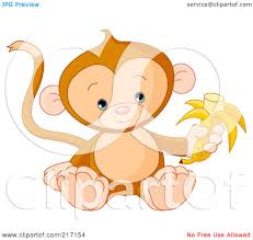 clipart cute monkey hanging from a tree with a sign royalty free