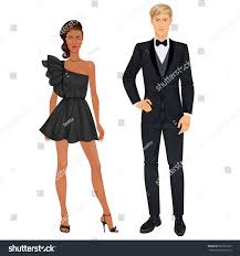 paper dolls mixedrace couple young woman stock vector 687569155