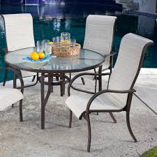 Outdoor Sling Patio Furniture 5 Piece Patio Furniture Dining Set With Round Table And 4 Padded