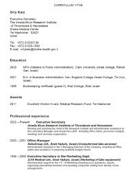 Example Secretary Resume Cover Letter Resume Sample For Secretary Sample Resume For