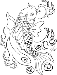 koi fish art coloring free printable coloring pages
